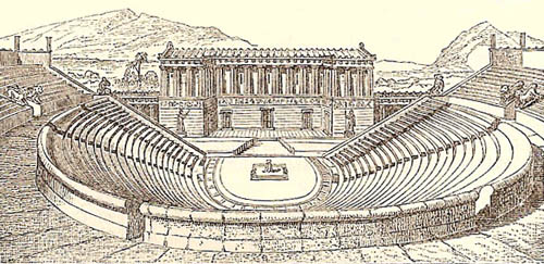 a description of the theater and drama in the ancient greece Everything we think we know from the ancient greek theatre, and about the  origins of theatre, comes from the following sources: from the 5th.